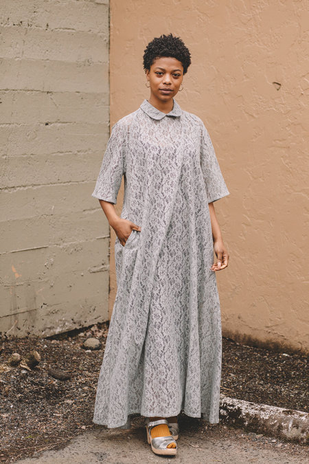 Lace Raglan Sleeve Gown with Pockets - Pale Gray