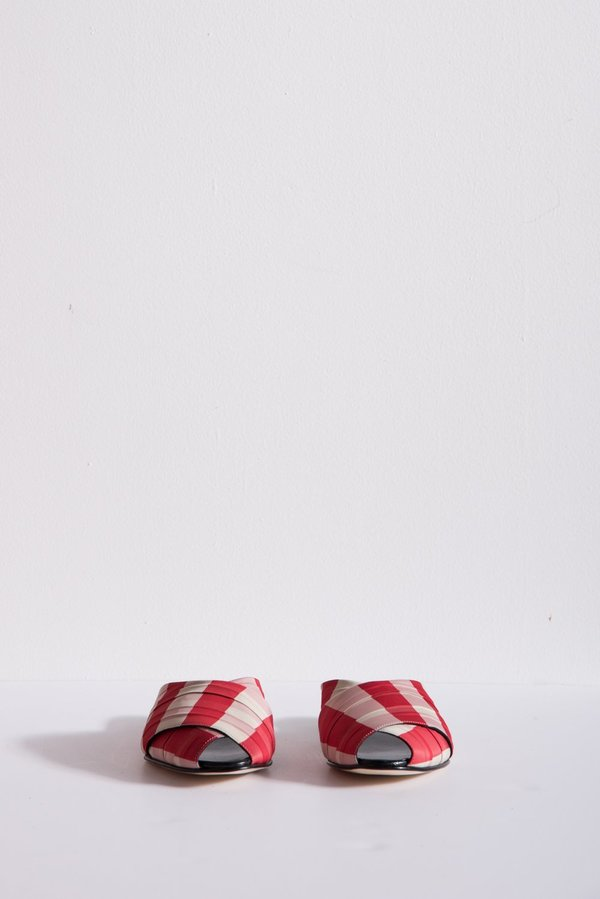 Trademark Gingham Wrapped Pajama Sandal - Red/Cream