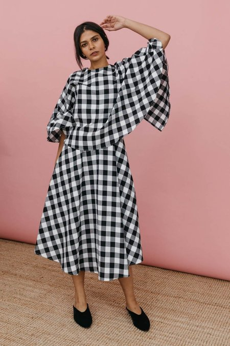Wolcott : Takemoto Kepu Dress - Black Gingham
