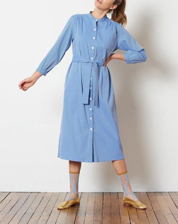 No.6 Elena Shirt Dress - China Blue Woven Stretch Stripe