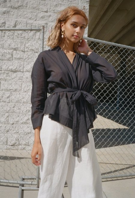 Da/Da Diane Ducasse Wrap Shirt - Black Voile