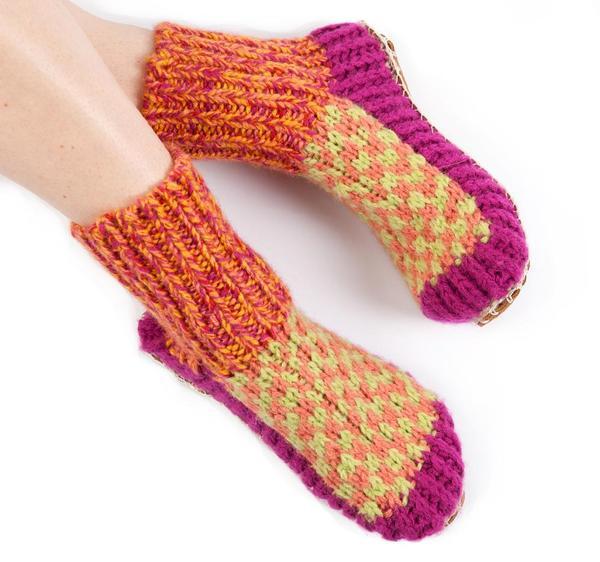 Ariana Bohling Berkley Knit Slipper sock Magenta