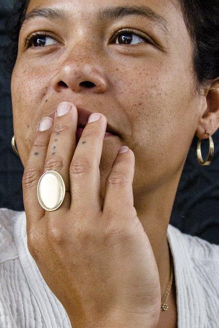 Melissa Easton Large Oval Ridged Ring - Gold