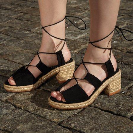 AoverA Zoey Black Espadrille Sandal