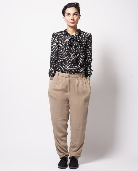 Crowned Bird High-waisted Pants - Tan