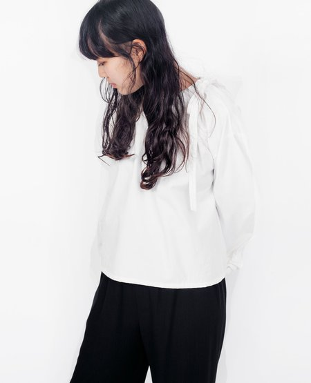OPEN AIR MUSEUM Contoured Gathered Top - White