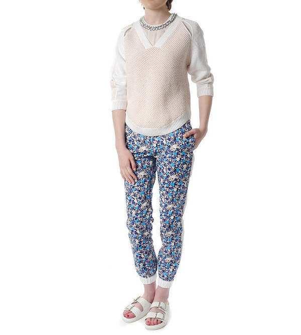 Sacai Luck Floral Print Cropped Joggers