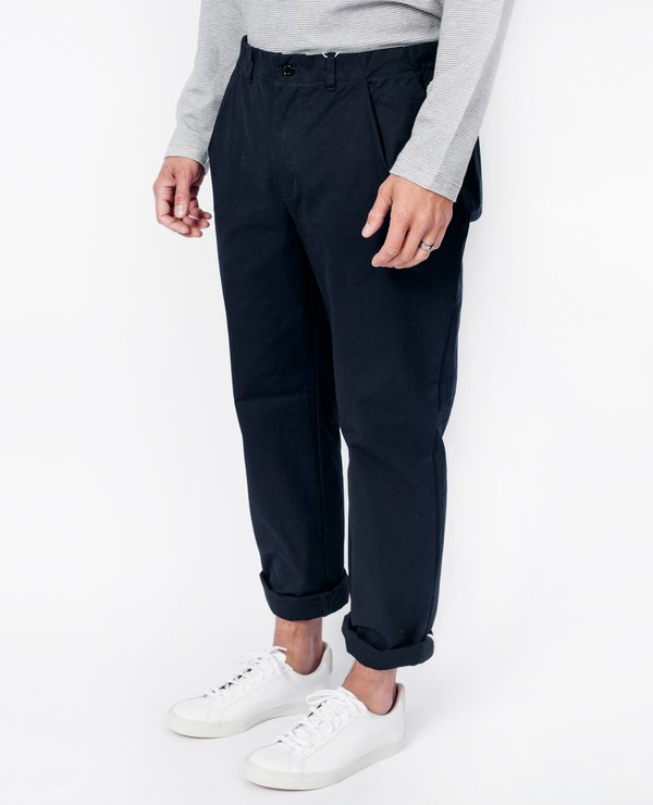 Still By Hand Cotton Tapered Pants - Navy