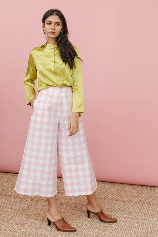 Wolcott : Takemoto Knavish Culotte in Pink Gingham