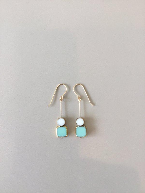 I. Ronni Kappos Stacked Aqua Square Earrings