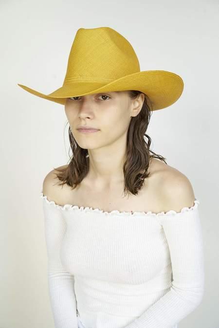 Clyde Panama Straw Cowboy Hat - Marigold