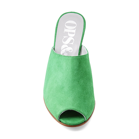 Ops&Ops No15 Wedge Mules - Emerald