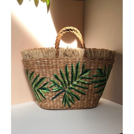 Aranaz Planta straw and raffia basket