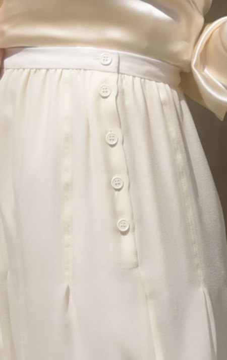 Carven Silk Georgette Skirt - Cream