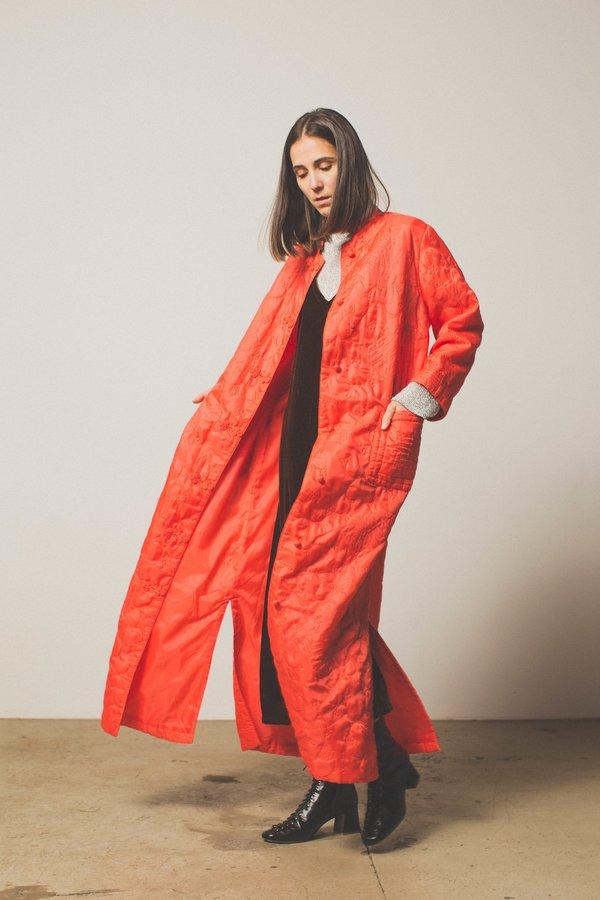 PRESERVATION Vintage 60s Quilted Duster Dress - Red Orange