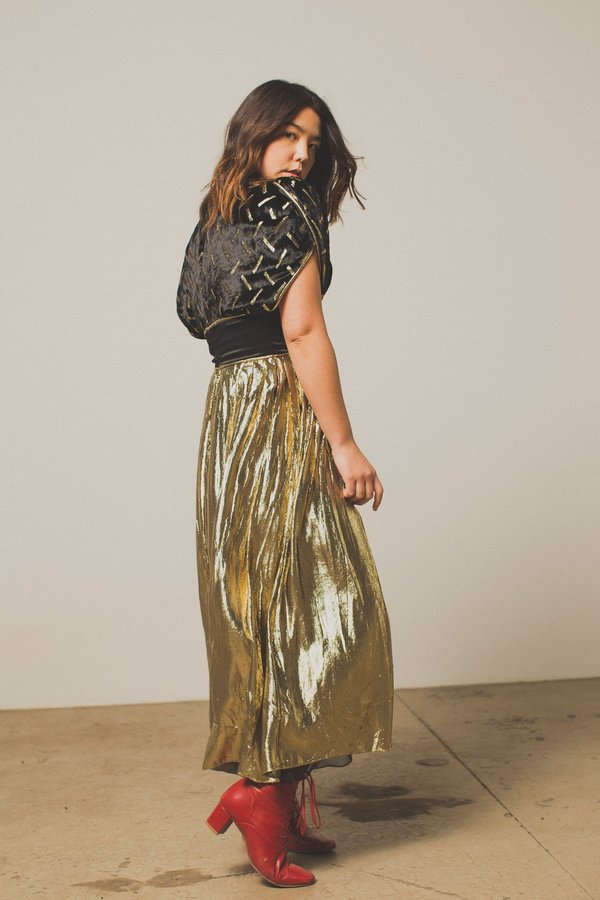 Preservation Vintage Black & Gold Velvet and Metallic Dress