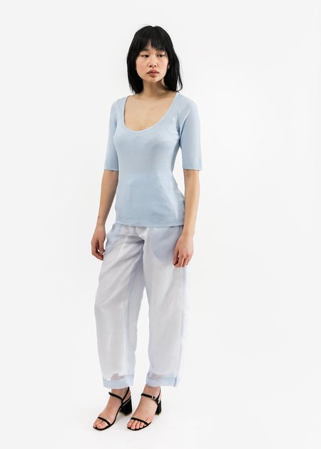 Suzanne Rae Short Sleeve Scoop Neck Knit in Powder Blue