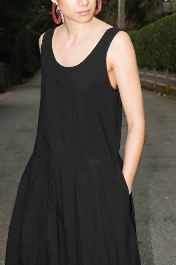 Black Crane Patched Dress - Black