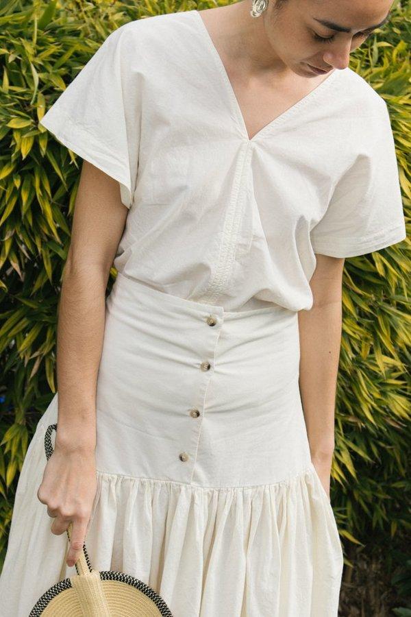 Black Crane Lantan Skirt - Cream