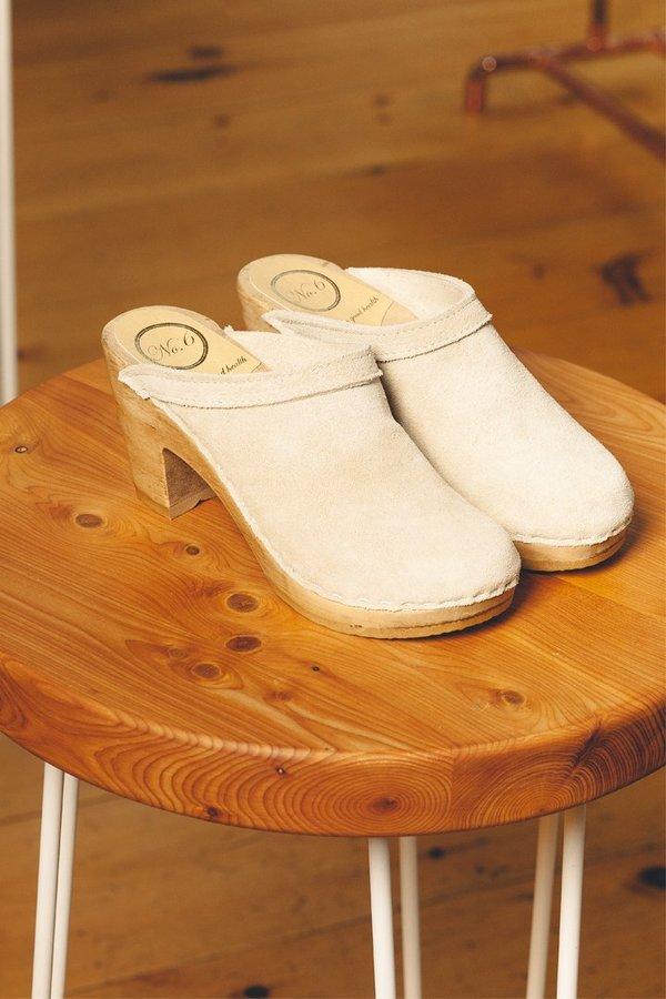 No.6 High Heel Old School Clog - Chalk Suede