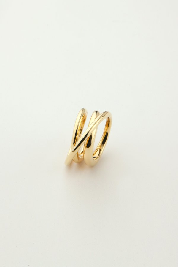 MM Druck Trois Ring - 14k Gold Plated Sterling Silver.