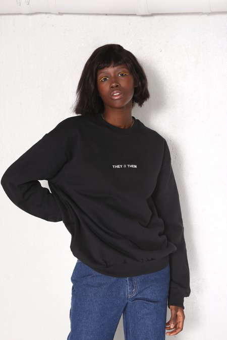"""""""INTENTIONALLY __________."""" THEY // THEM Pullover - Black/White"""