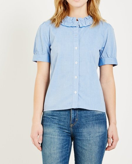 ALSO MADISON SHORT SLEEVE BLOUSE - CHAMBRAY