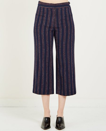 Carven STRIPED CROPPED TROUSER - NT BLUE