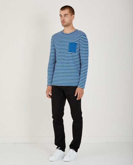 321 THICK STRIPE INDIGO CREWNECK - LIGHT WASH