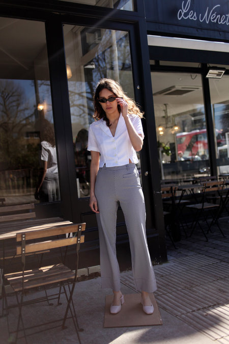 Side Party Squad Micro Gingham Flared Pants - Blue/White Micro Gingham