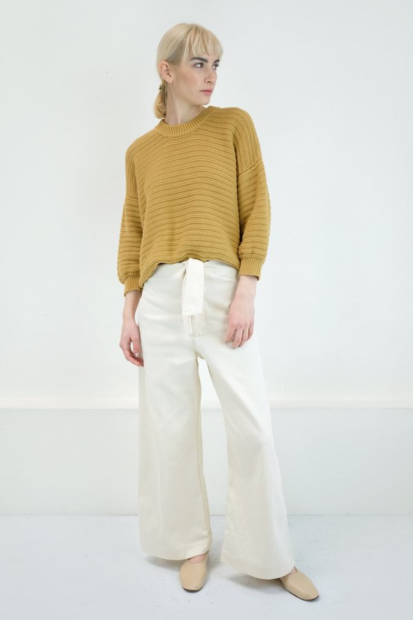 Micaela Greg Roll Rib Sweater in Maize
