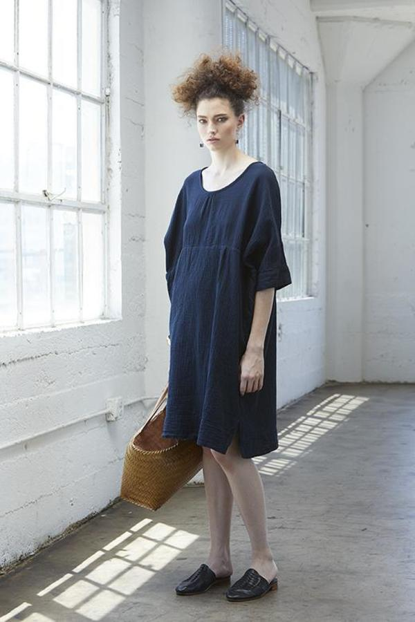 Atelier Delphine Ella Dress - Darkest Navy Wrinkled Cotton