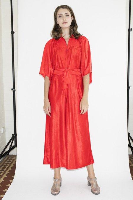 807543d56ced TheNinetyNine Vintage Flame Thrower Velvet Jumpsuit - Red ...