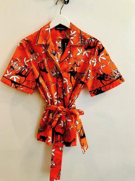 Markus Lupfer Cara Monkey Flower Shirt - Orange