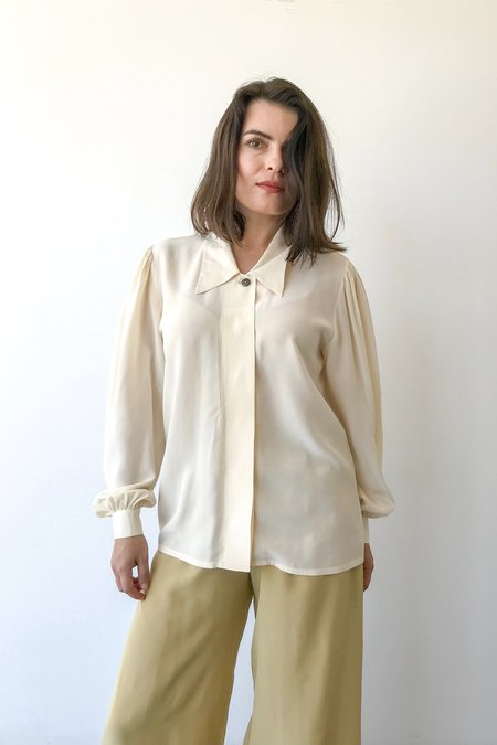 VINTAGE Mixed Business Silk Big Collar Shirt - Cream