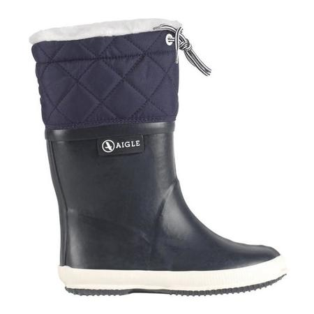 KIDS Aigle Child Giboulee Lined Winter Boot - Navy Blue/White