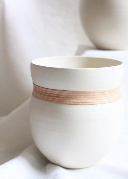 KATI VON LEHMAN Porcelain and Leather Vase - white