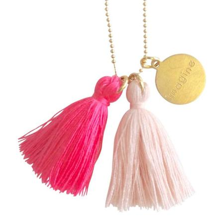 "Atsuyo Et Akiko Imagine Jewellery Necklace 22"" Gold Filled Chain - Pink"