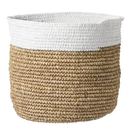 Bloomingville Natural Woven Baskets With White Top Large - Natural/White