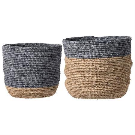 "Bloomingville Round Seagrass Basket - Natural/Grey, 16"" Large"