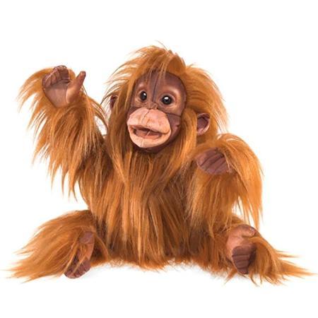 KIDS Folkmanis Baby Orangutan Puppet - BROWN