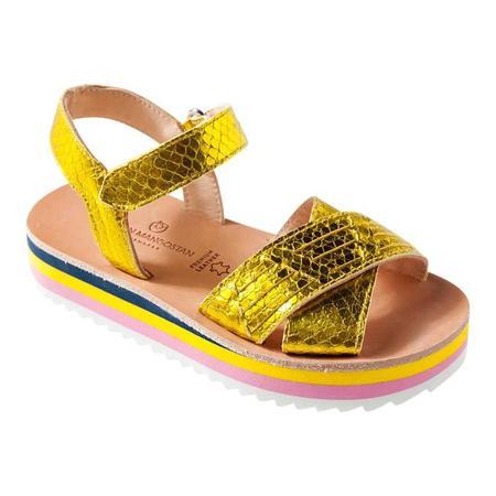 KIDS Maison Mangostan Coco Plum Python-Effect Leather Sandal - Yellow Metallic