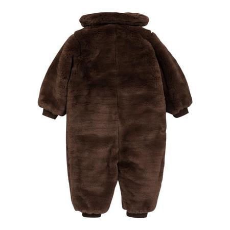 Kids Mini Rodini Faux Fur Baby Overall - Brown