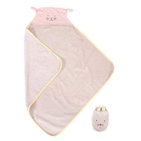 KIDS Moulin Roty Les Petits Dodos Hooded Towel With Mittens - Pink