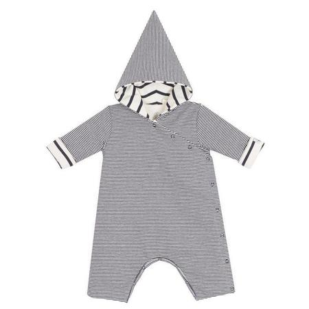 KIDS Petit Bateau Baby Hooded One Piece - Blue and White Stripe