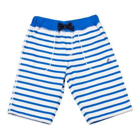 KIDS Petit Bateau Fourrure Bermuda Shorts - White/Blue Stripe