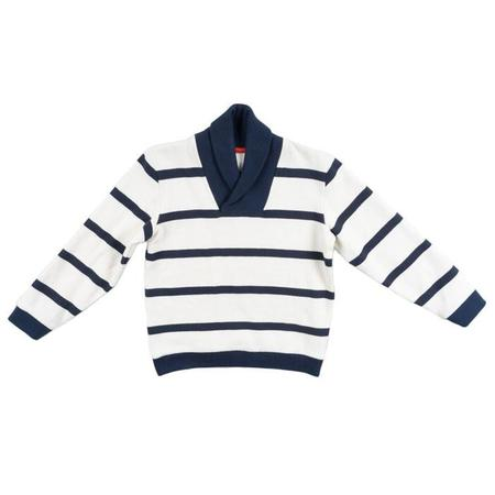 KIDS Petit Bateau Sweater - Blue and White Stripe with Collar