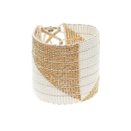 Sidai Designs Wide Geometric Warrior Bracelet - White and Gold