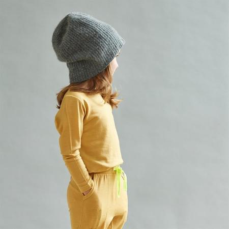 Kids Smalls Long Sleeved Merino Shirt - Mustard With Yellow Stitch