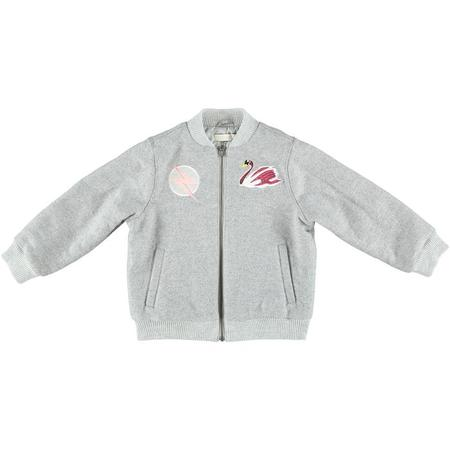 Kids Stella McCartney Dusty Girls Bomber Jacket With Swan Patch - Grey